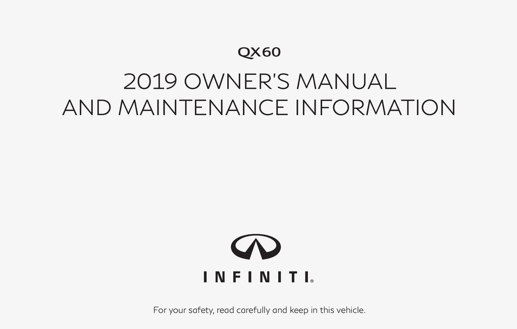 2019 Infiniti Qx60 owners manual