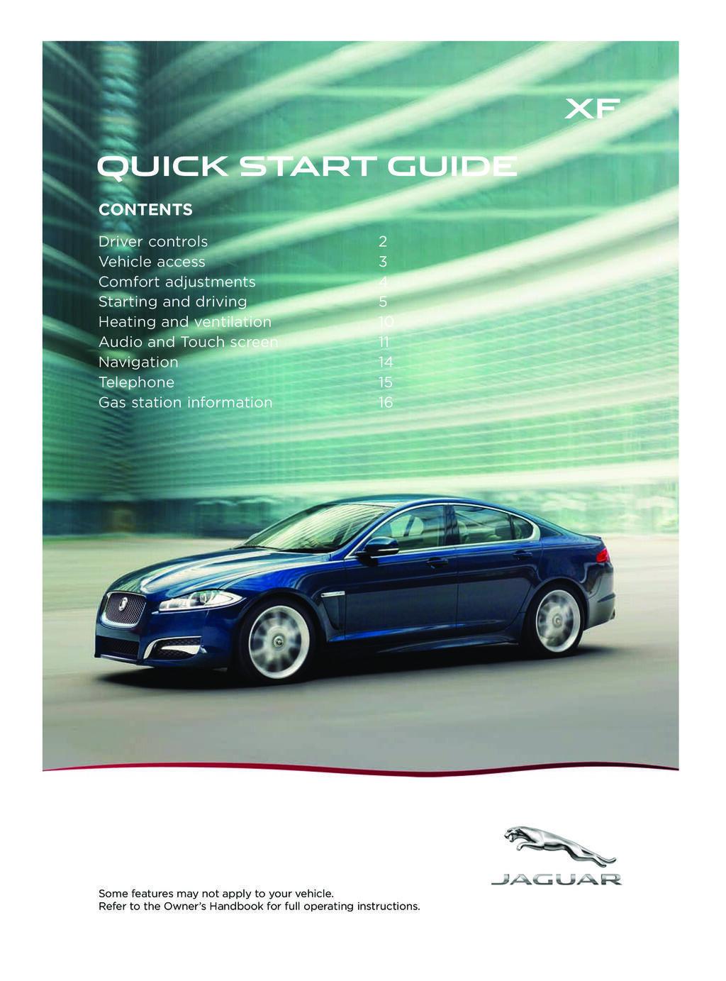 2014 Jaguar Xf owners manual