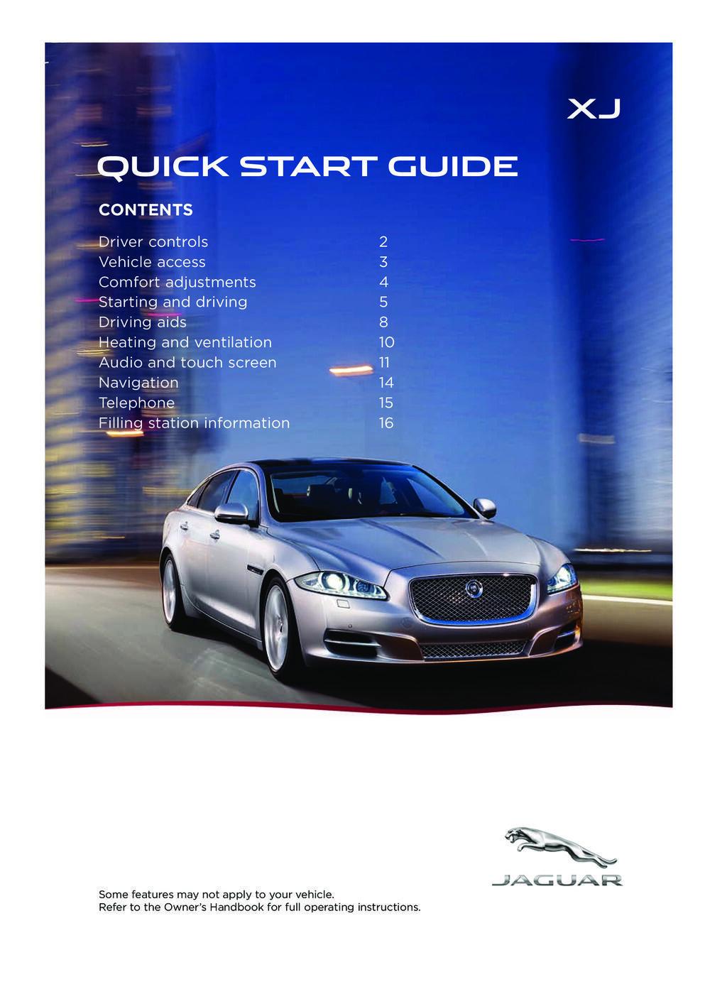 2014 Jaguar Xj owners manual