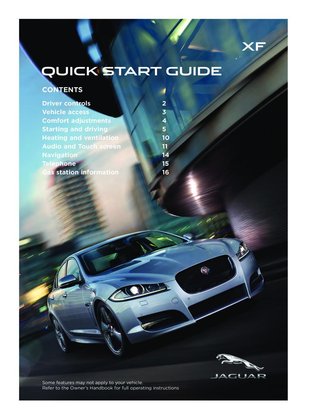2015 Jaguar Xf owners manual