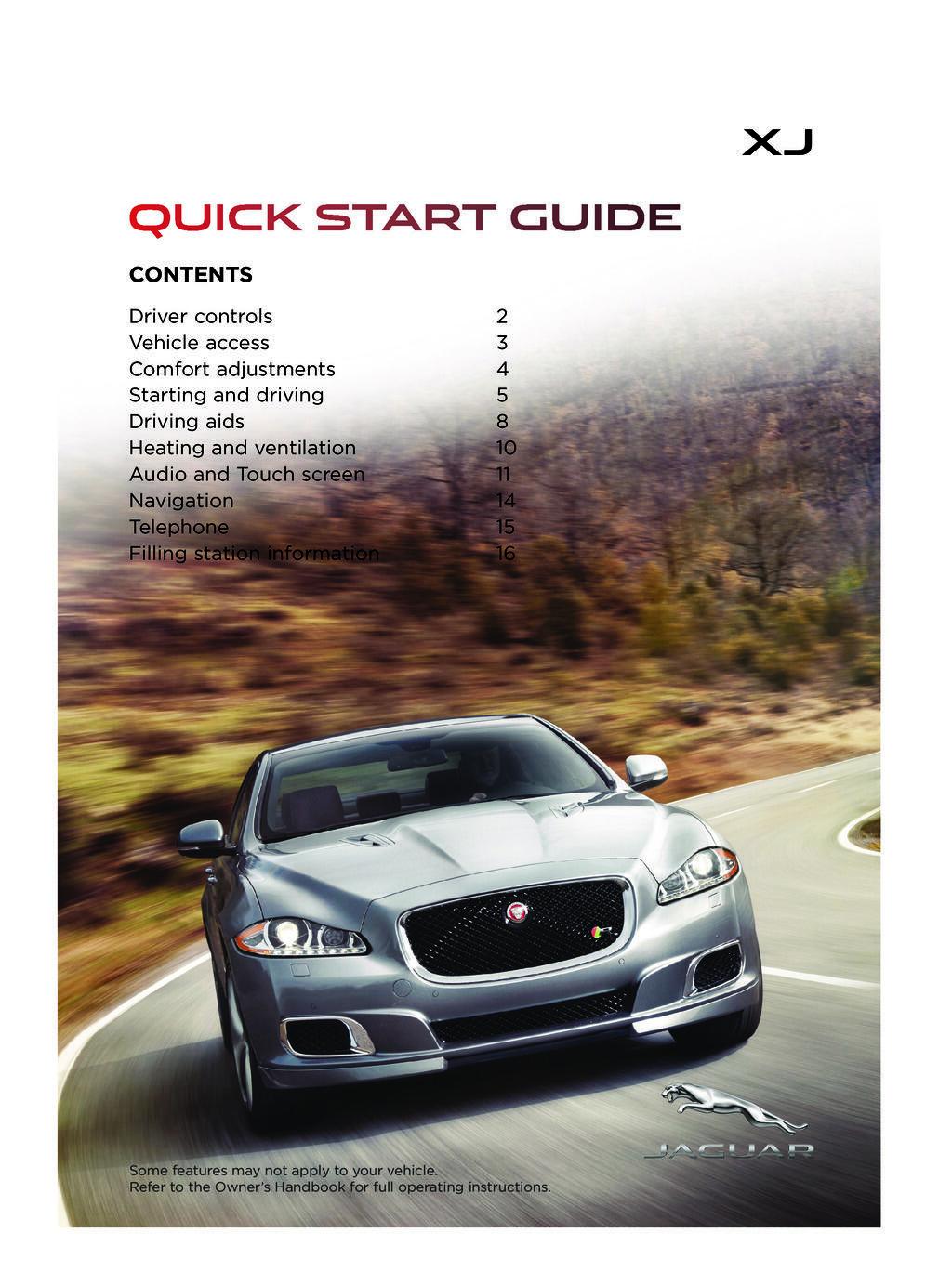 2015 Jaguar Xj owners manual