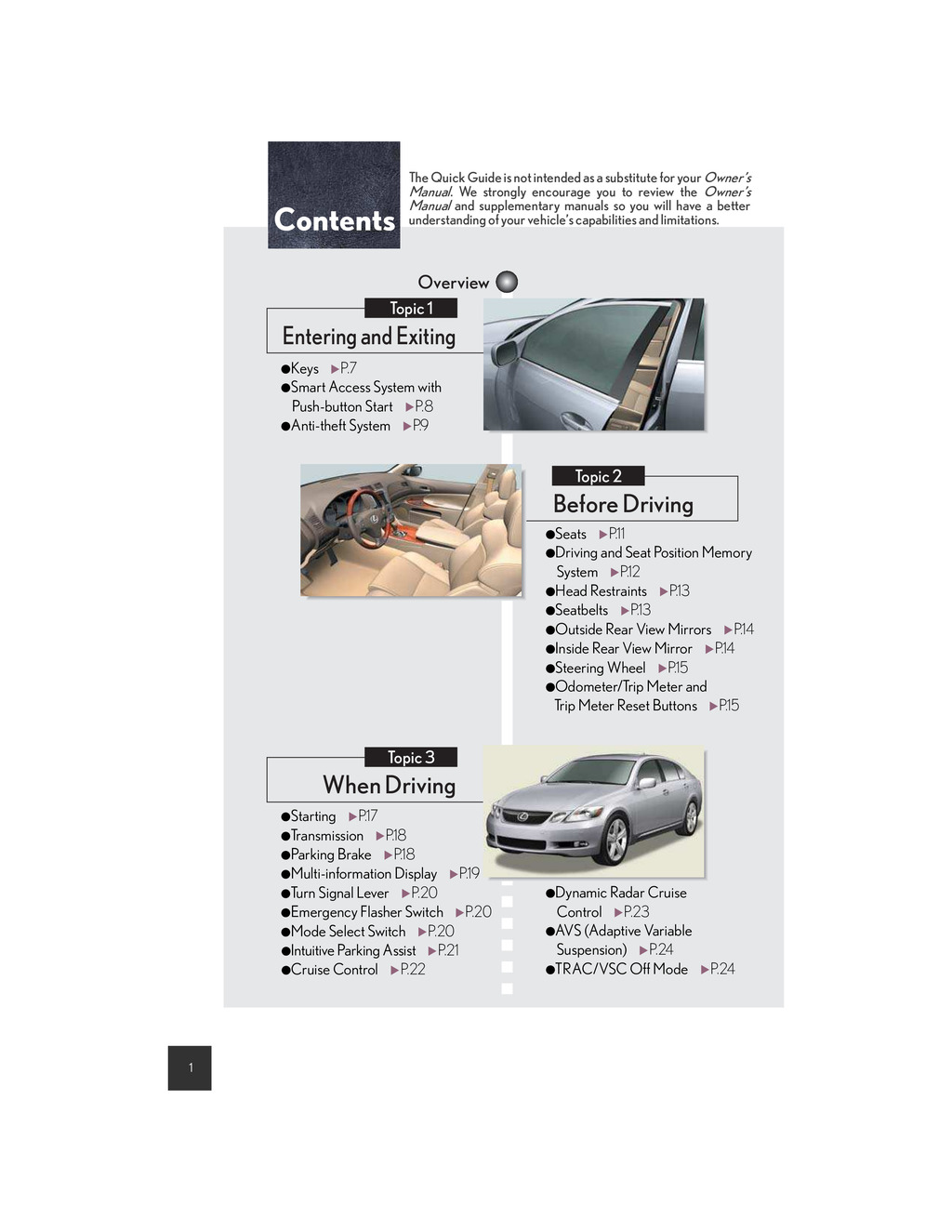 2007 Lexus Gs350 owners manual