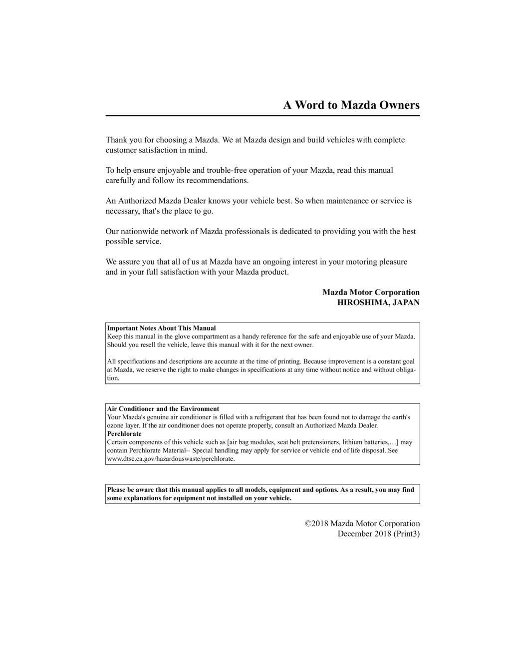 2019 Mazda 3 owners manual