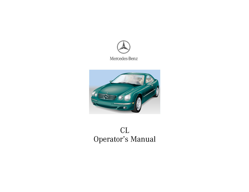 2000 Mercedes-Benz CL Class owners manual