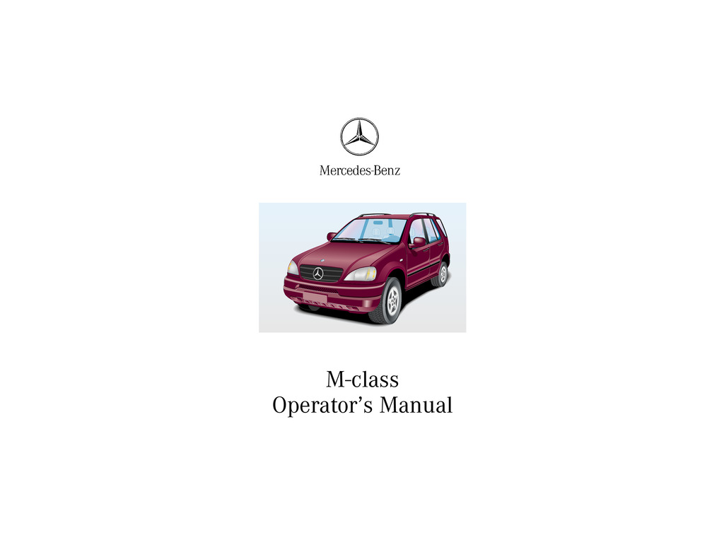2000 Mercedes-Benz M Class owners manual