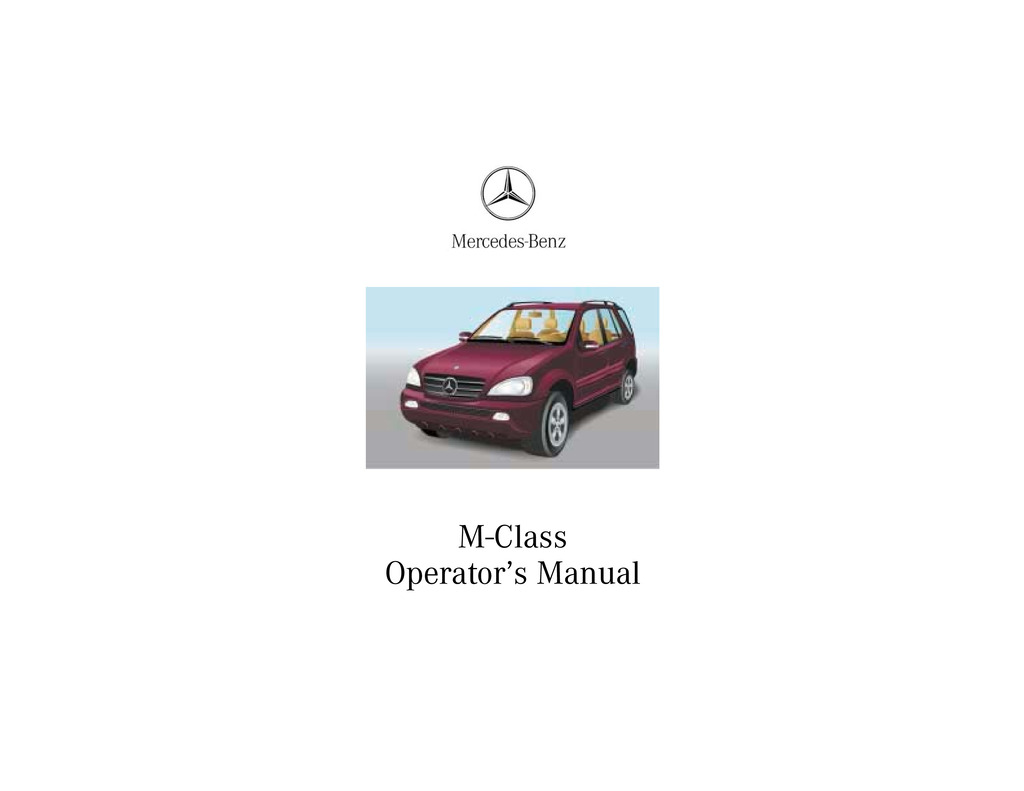 2002 Mercedes-Benz M Class owners manual