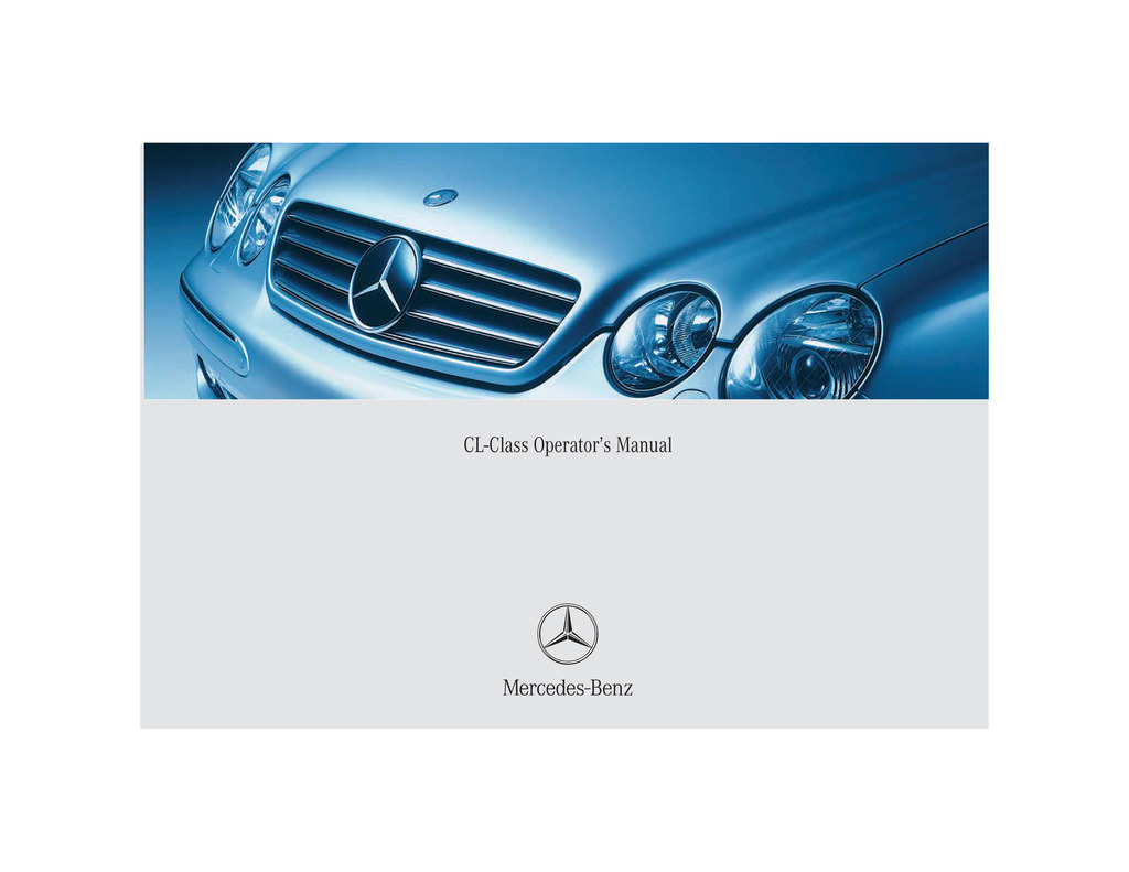 2004 Mercedes-Benz CL Class owners manual