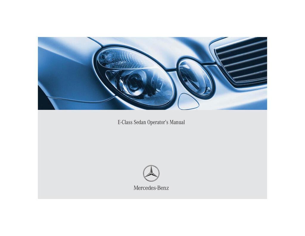 2004 Mercedes-Benz E Class owners manual