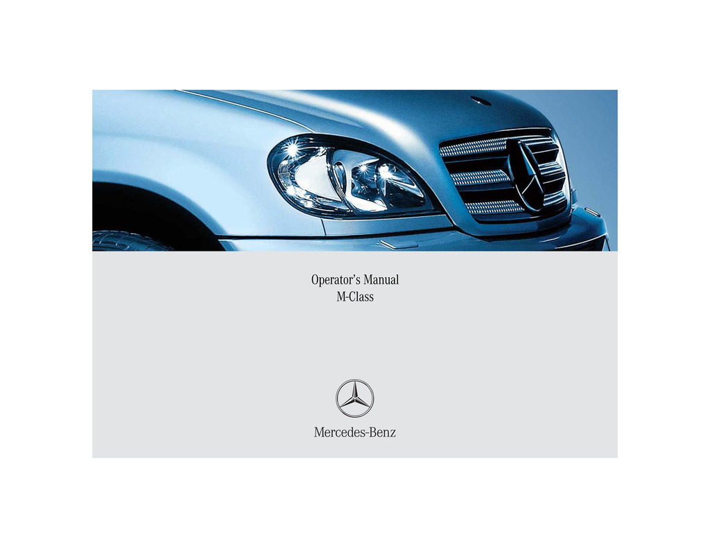 2005 Mercedes-Benz M Class owners manual