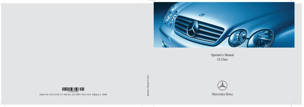 2006 Mercedes-Benz CL Class owners manual