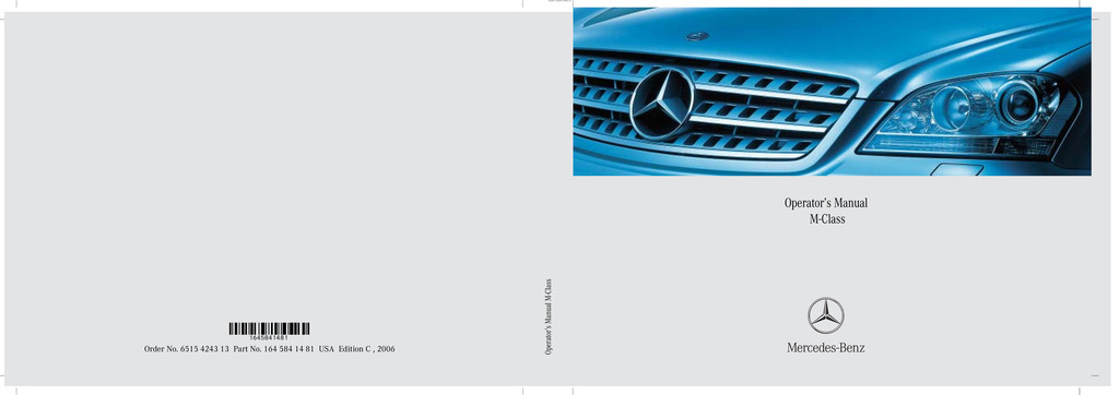 2006 Mercedes-Benz M Class owners manual