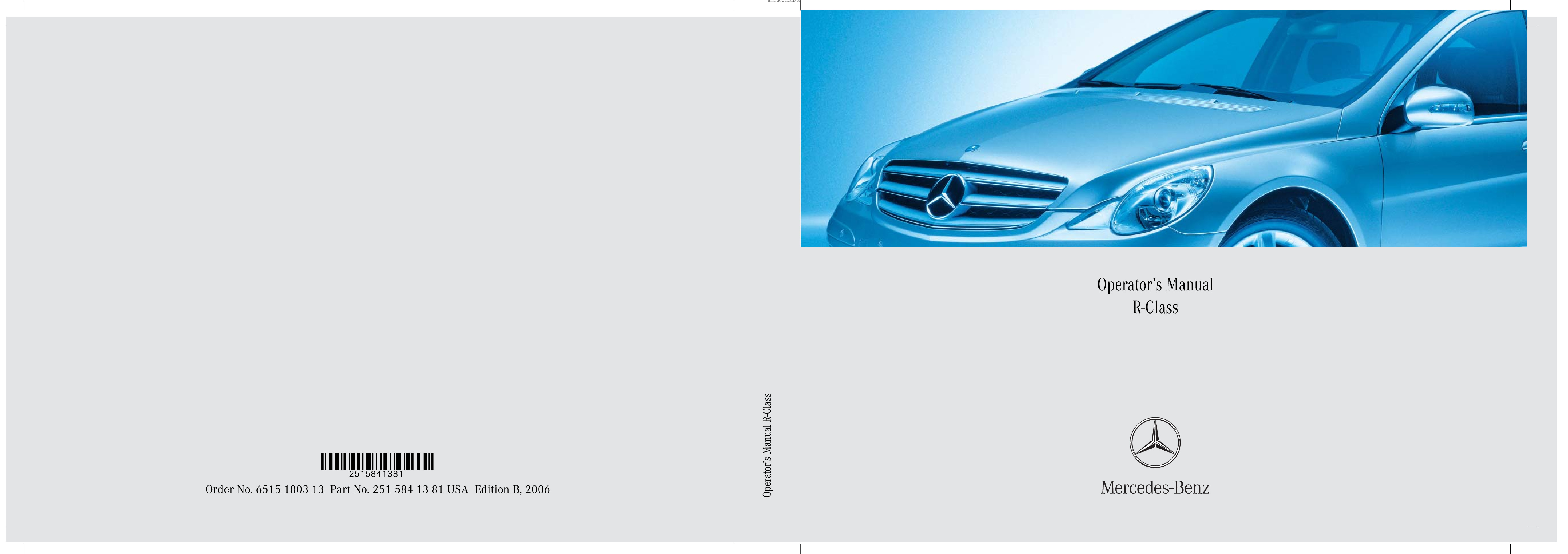 2006 Mercedes-Benz R Class owners manual