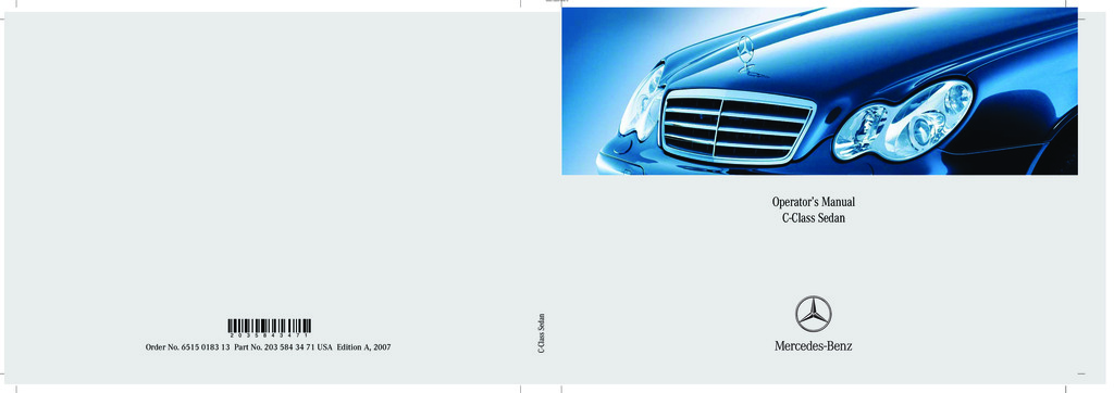 2007 Mercedes-Benz C Class owners manual