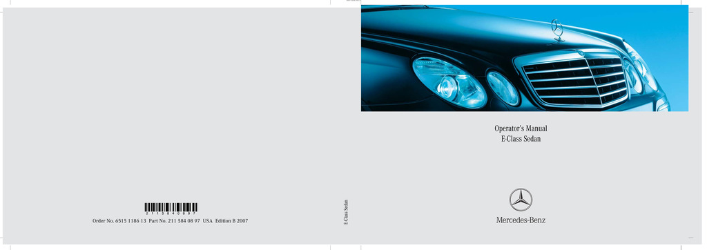 2007 Mercedes-Benz E Class owners manual