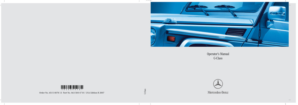 2007 Mercedes-Benz G Class owners manual