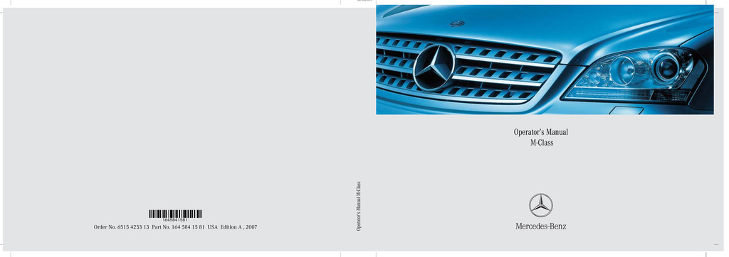 2007 Mercedes-Benz M Class owners manual