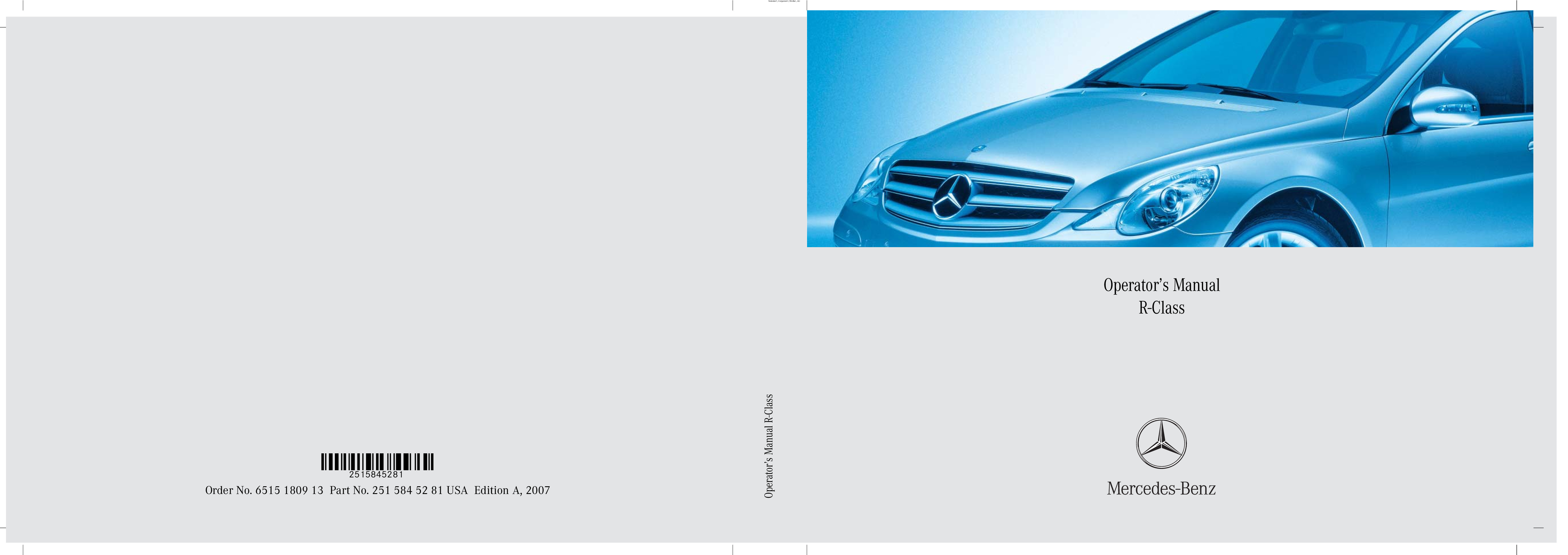 2007 Mercedes-Benz R Class owners manual