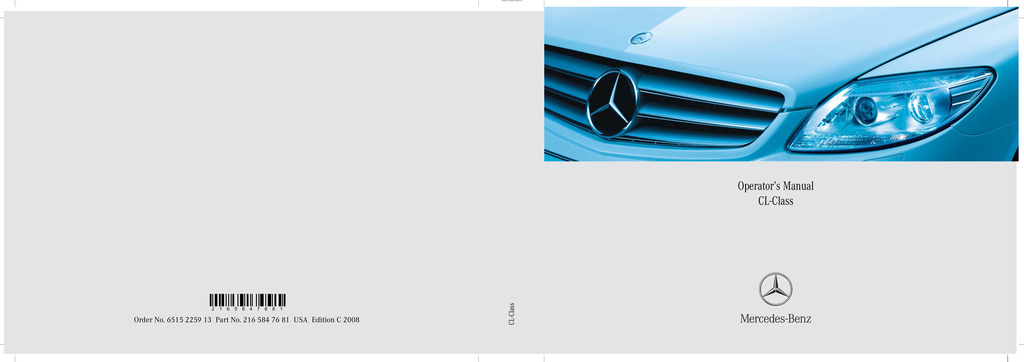 2008 Mercedes-Benz CL Class owners manual