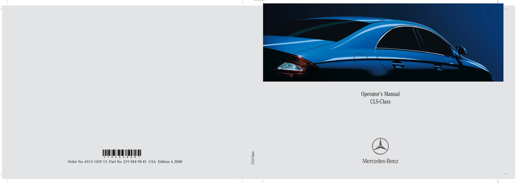 2008 Mercedes-Benz CLS Class owners manual