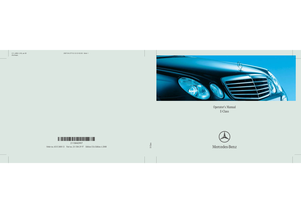 2008 Mercedes-Benz E Class owners manual