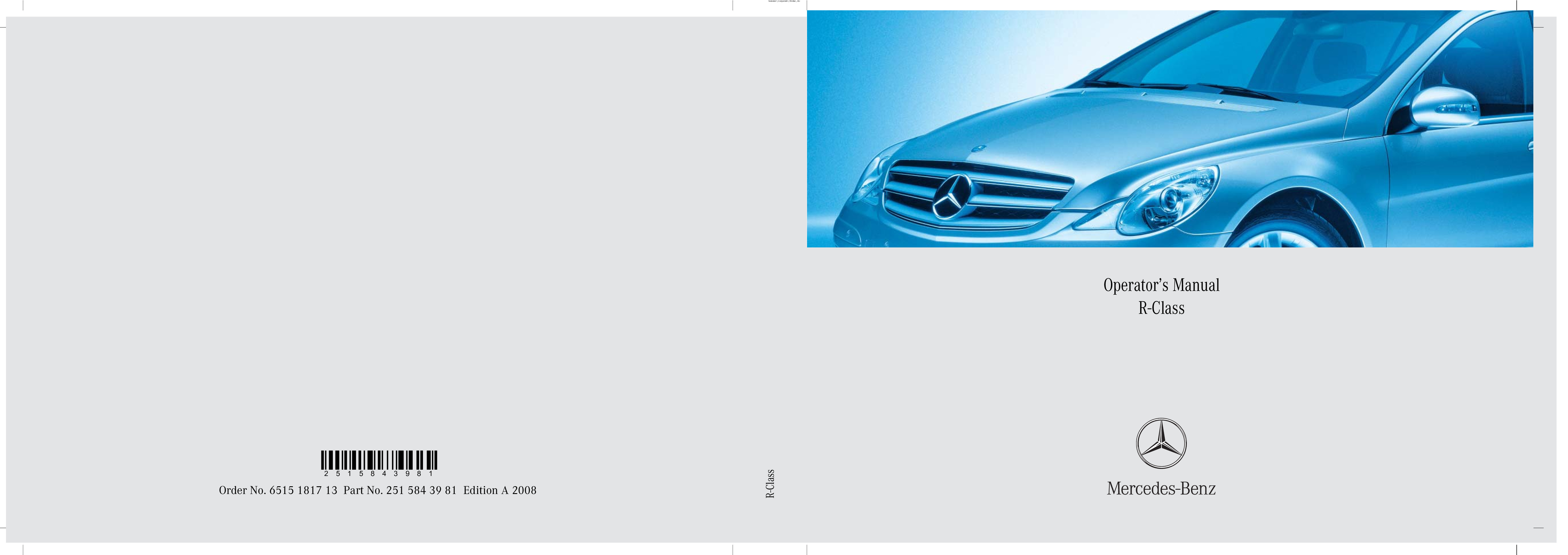 2008 Mercedes-Benz R Class owners manual