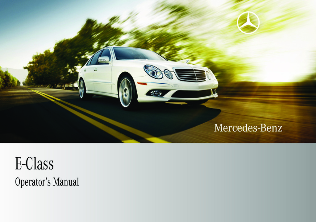 2009 Mercedes-Benz E Class owners manual