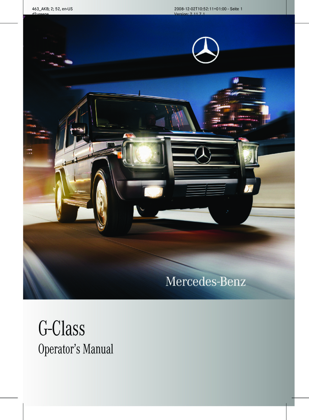 2009 Mercedes-Benz G Class owners manual
