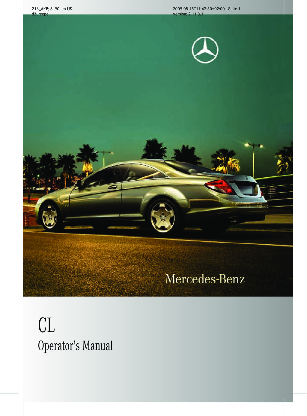 2010 Mercedes-Benz CL Class owners manual