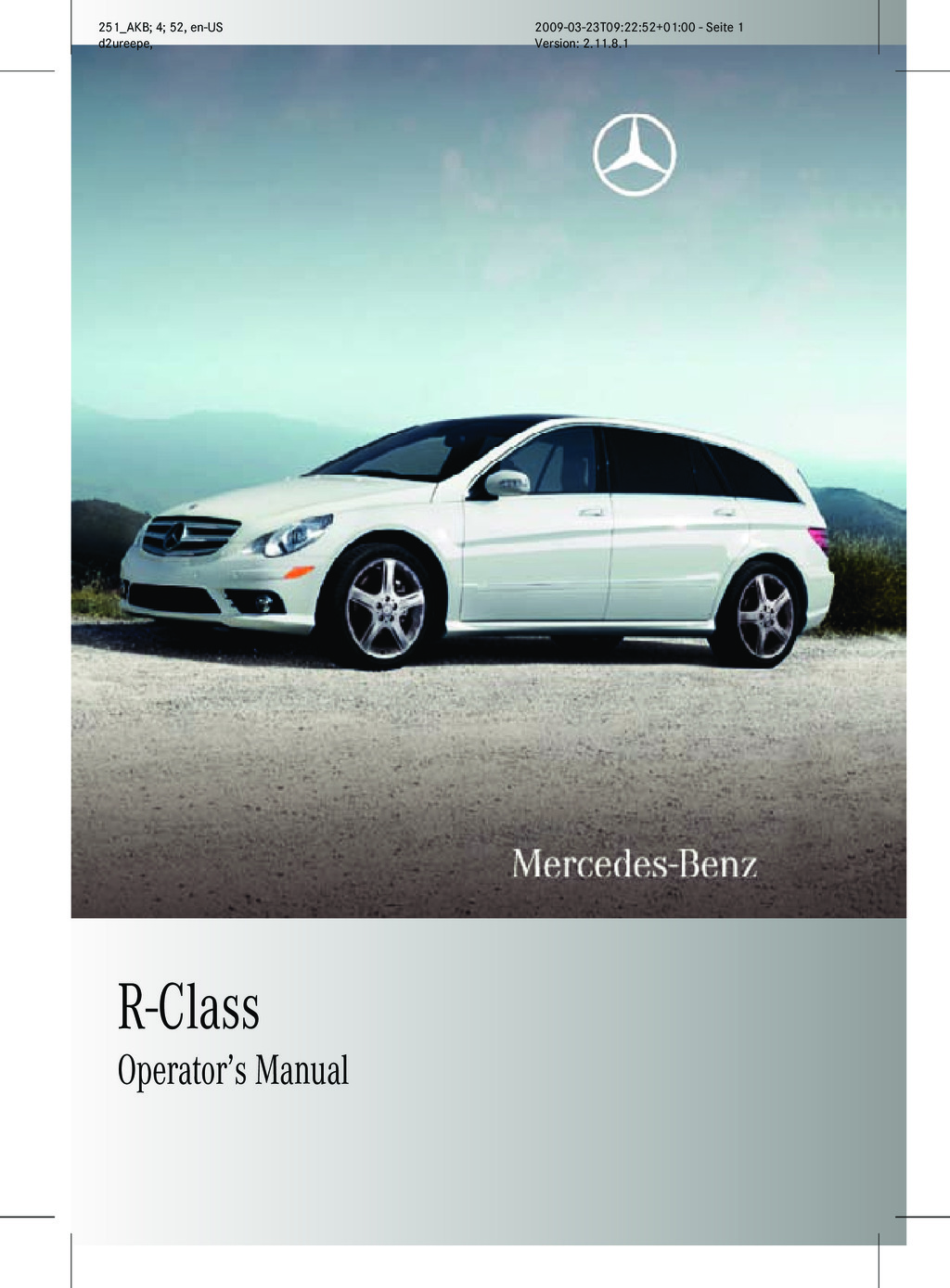 2010 Mercedes-Benz R Class owners manual