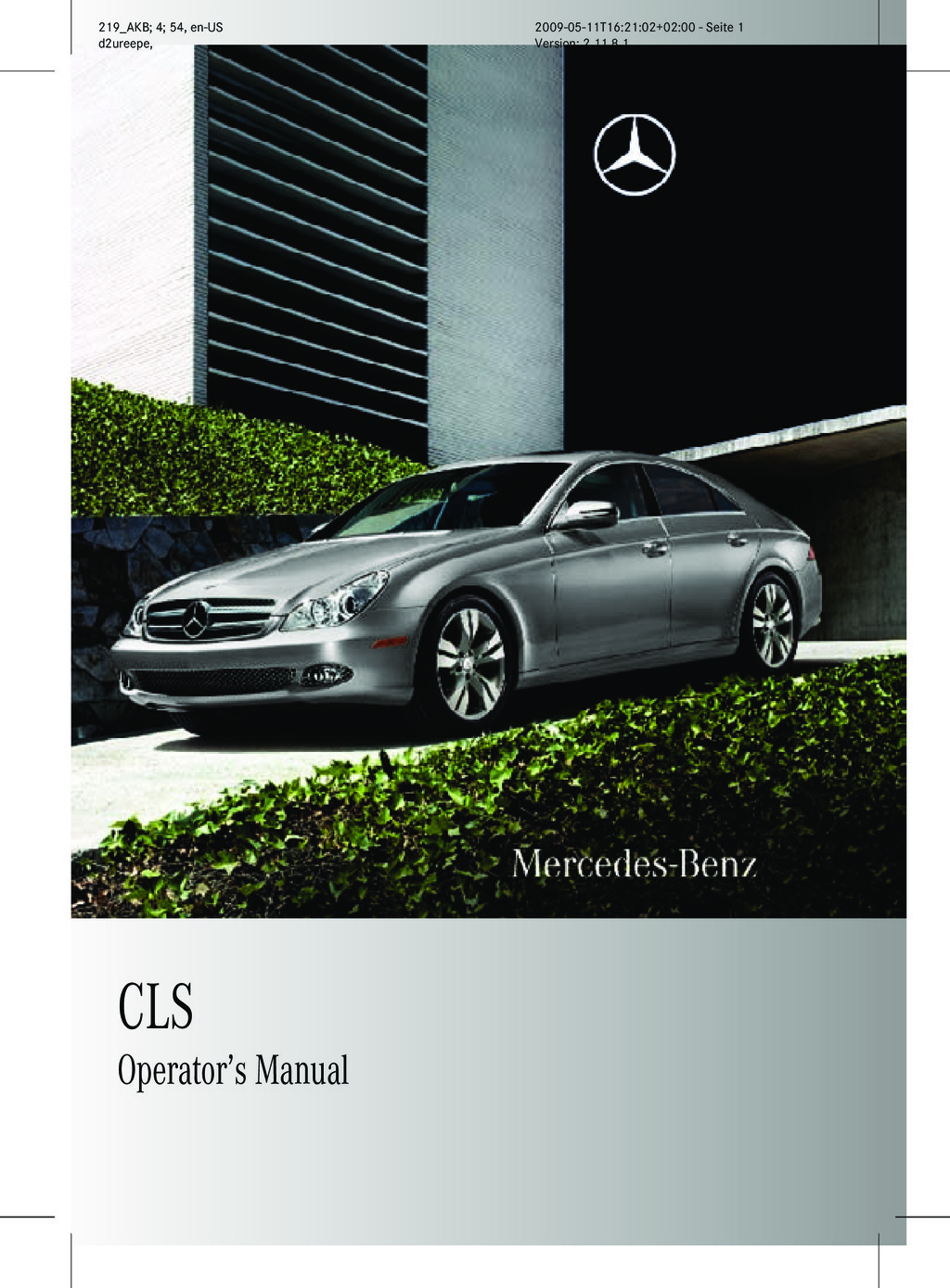 2011 Mercedes-Benz CLS owners manual