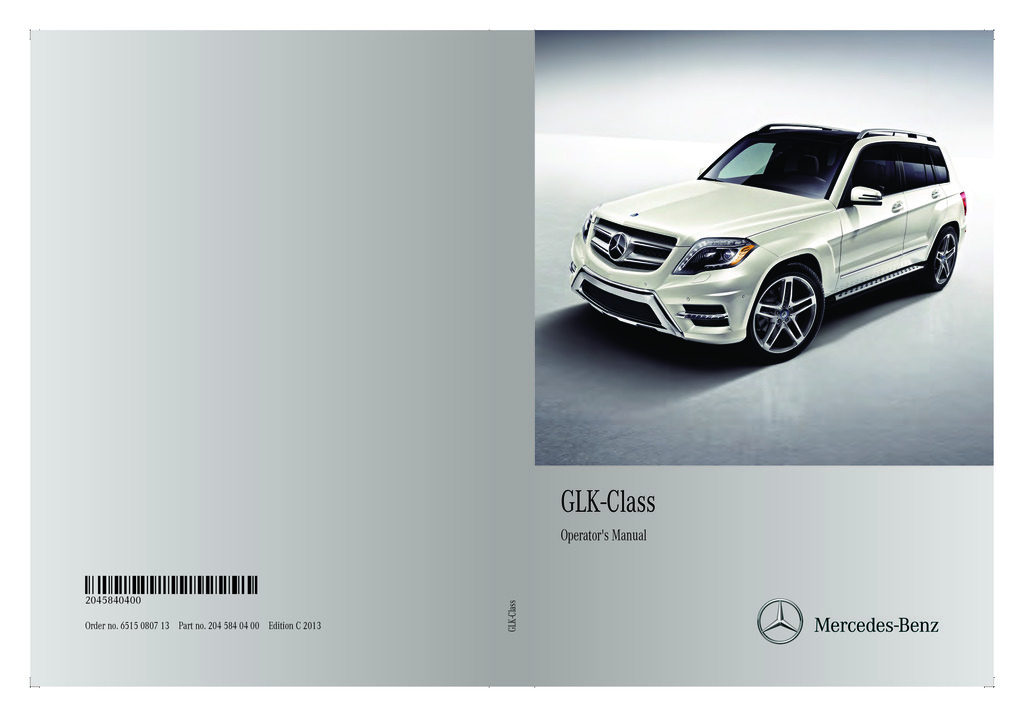 2013 Mercedes-Benz GLK Class owners manual
