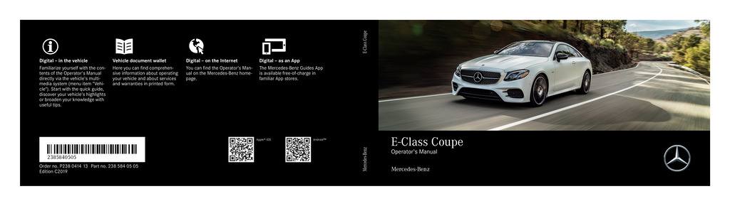 2019 Mercedes-Benz E Class Coupe owners manual
