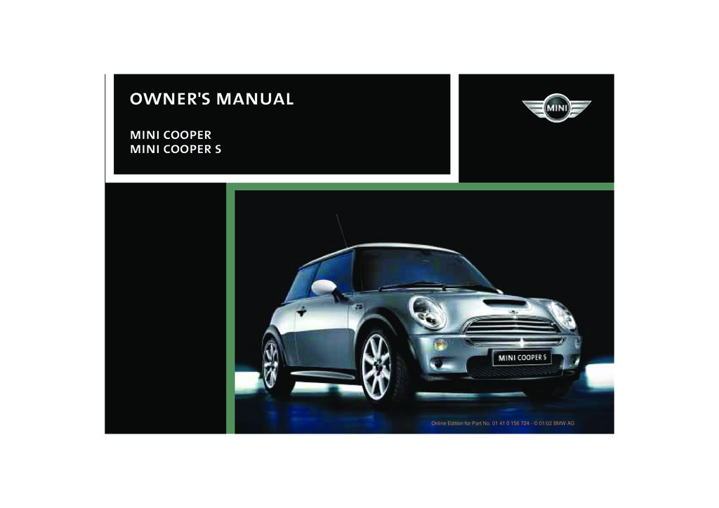 2002 Mini Cooper owners manual