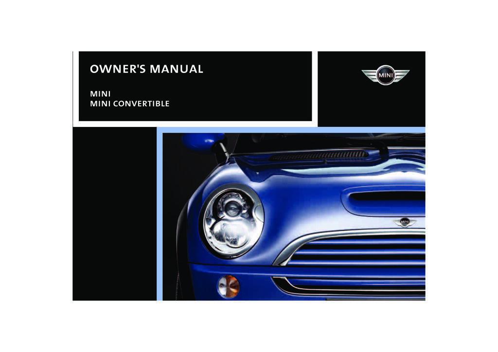2007 Mini Cooper Convertible owners manual