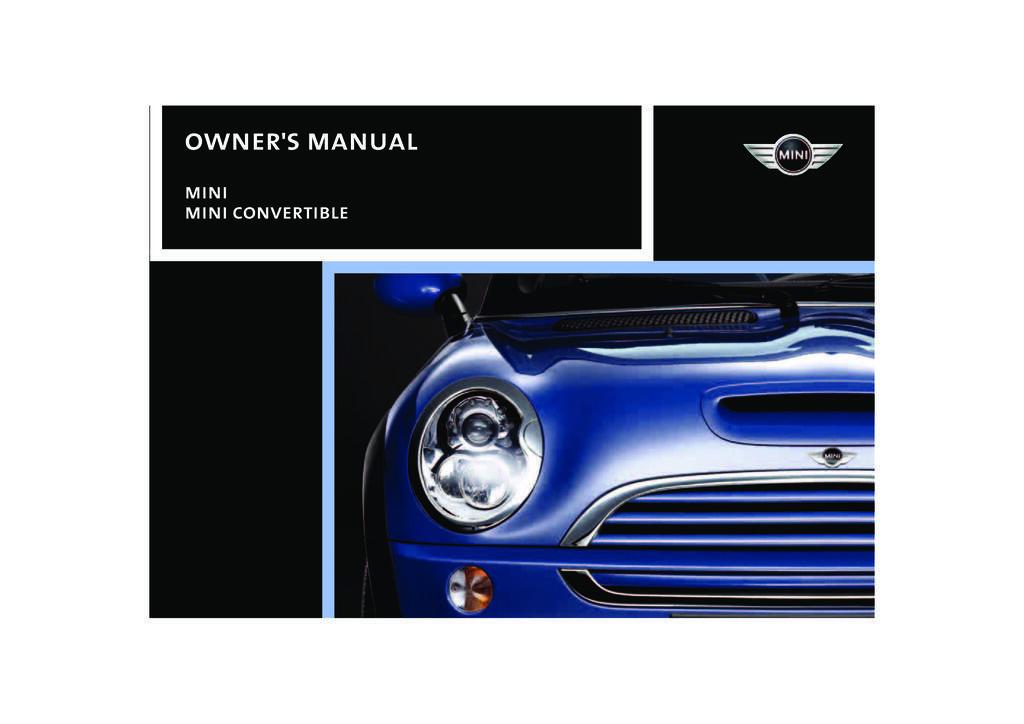 2008 Mini Cooper Convertible owners manual