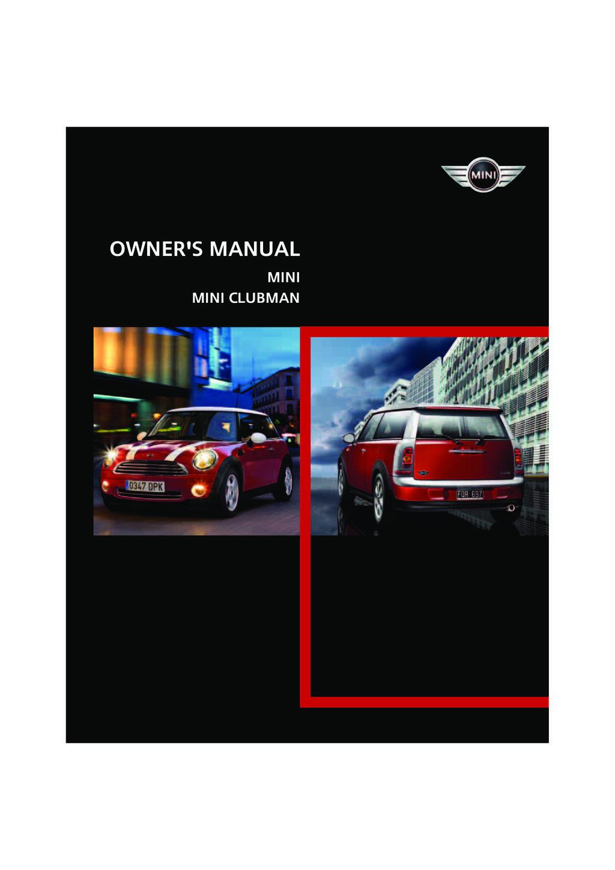 2008 Mini Cooper owners manual