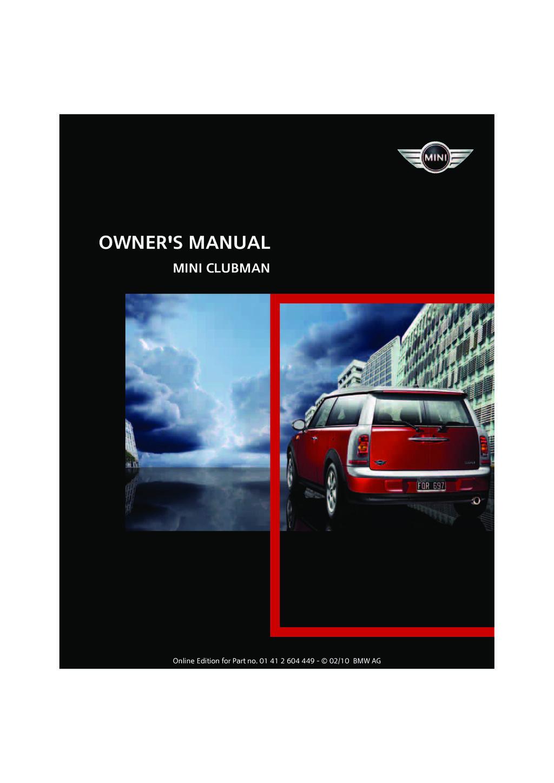 2010 Mini Clubman owners manual