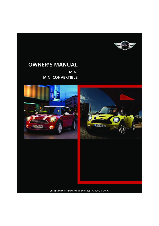 2010 Mini Cooper Convertible owners manual