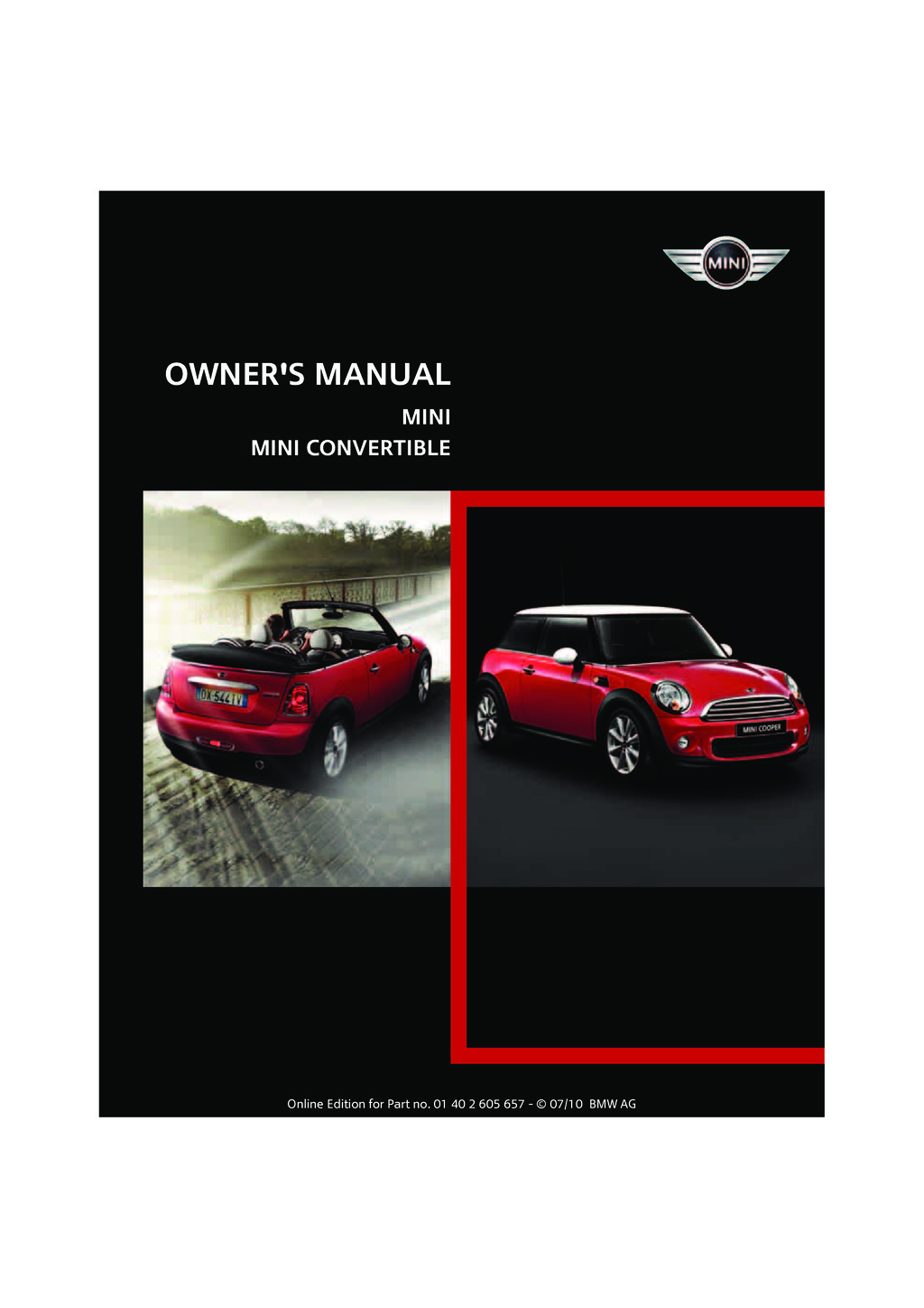 2011 Mini Cooper Convertible owners manual