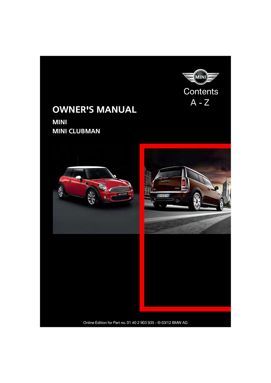 2012 Mini Clubman owners manual