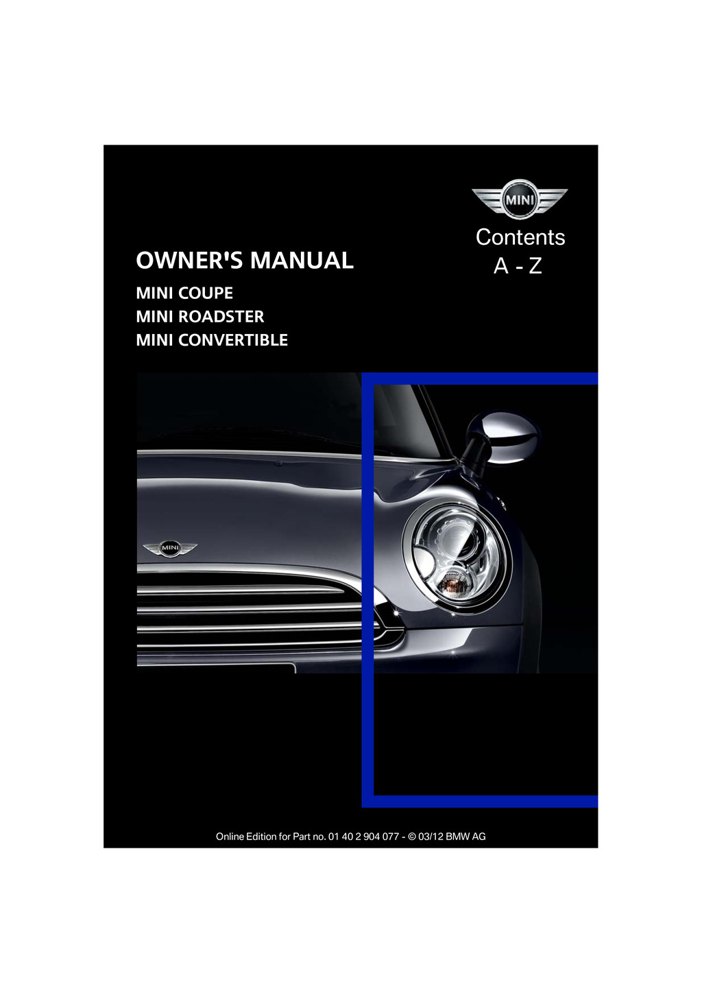 2012 Mini Coupe Roadster Convertible owners manual
