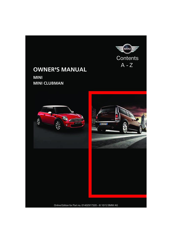 2013 Mini Clubman owners manual