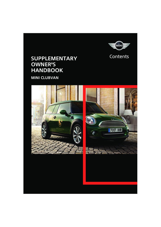 2013 Mini Clubvan owners manual