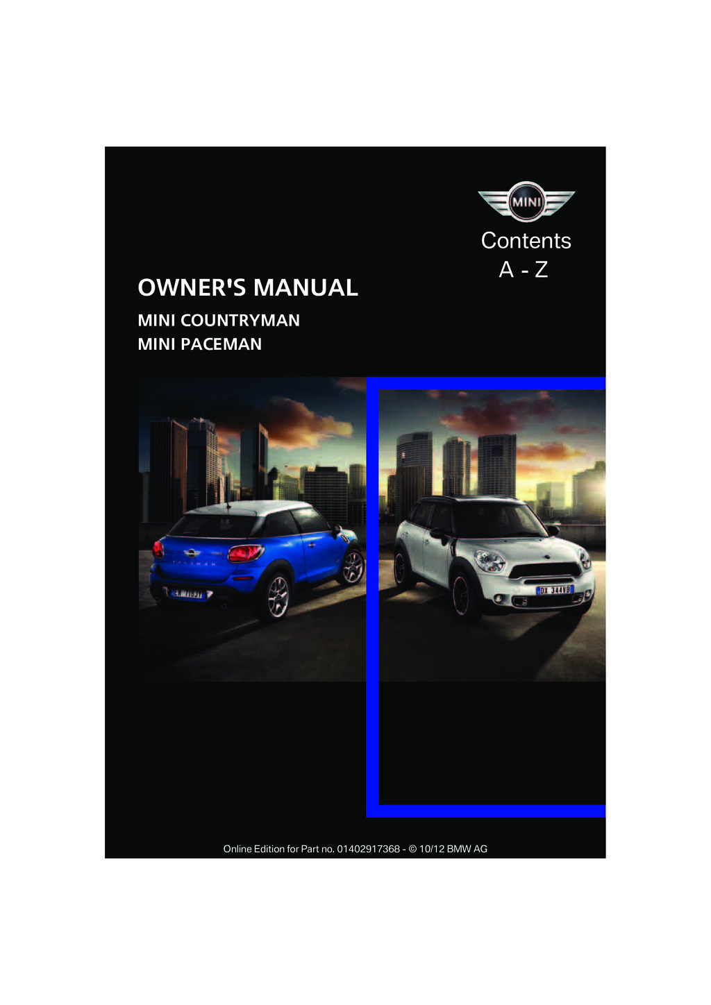 2013 Mini Countryman Paceman owners manual