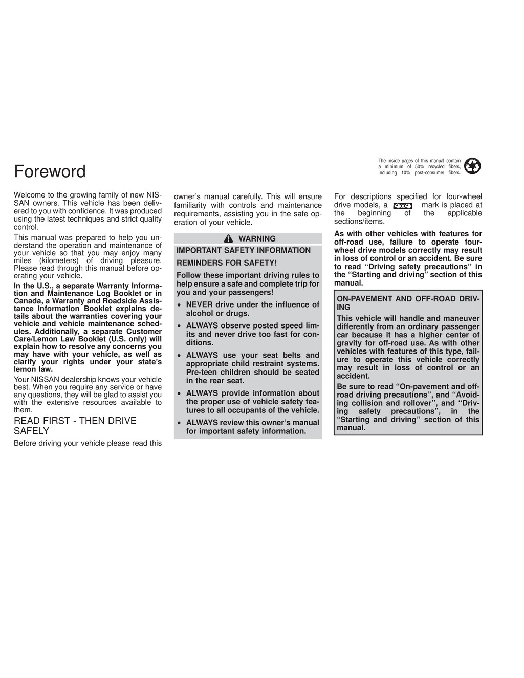 2000 Nissan Xterra owners manual