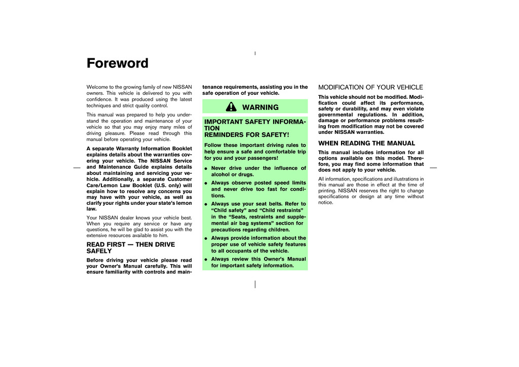 2003 Nissan Murano owners manual