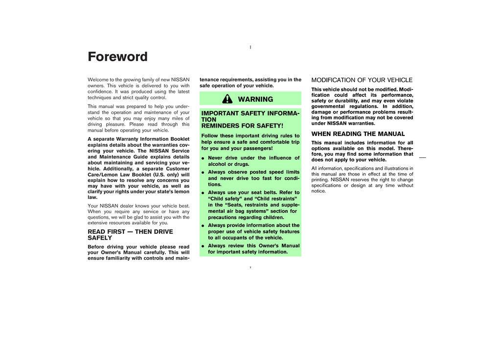 2004 Nissan Murano owners manual