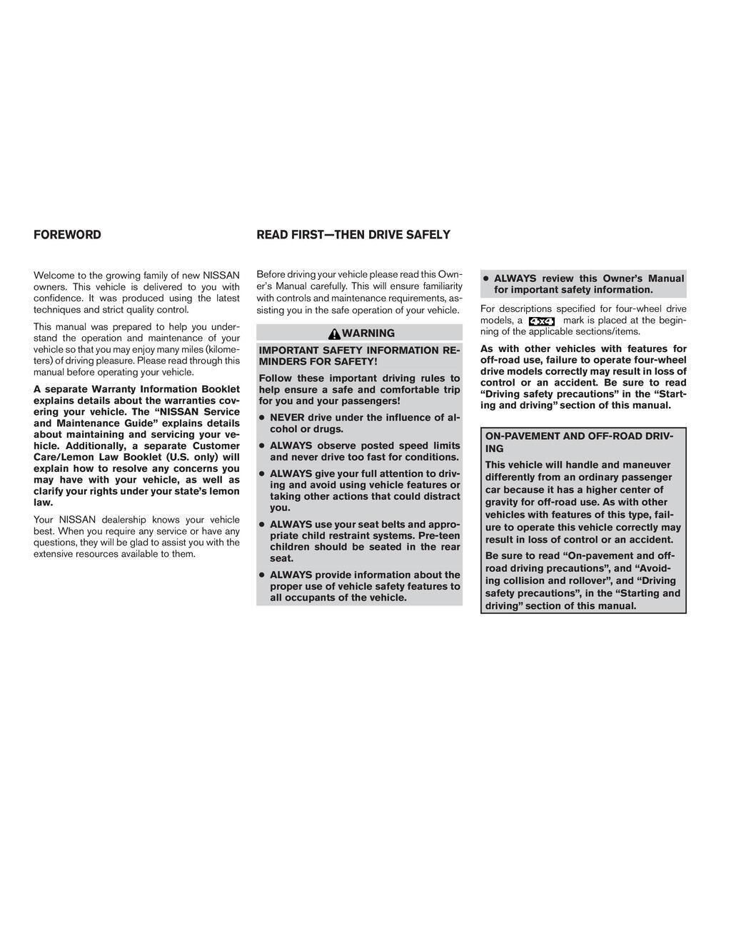 2007 Nissan Xterra owners manual