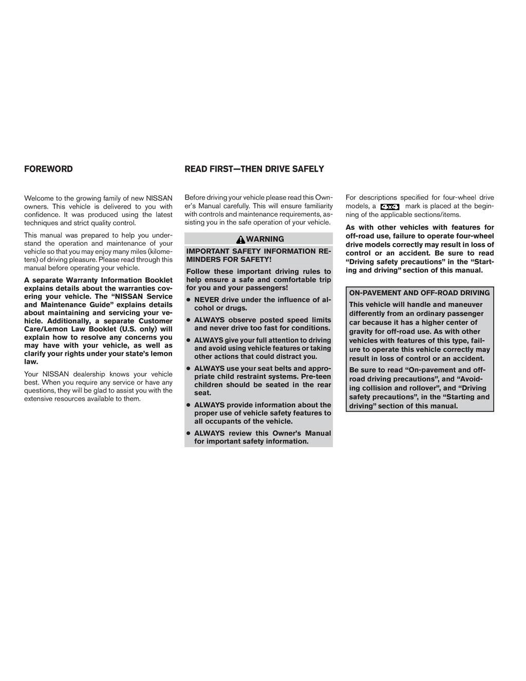 2008 Nissan Titan owners manual