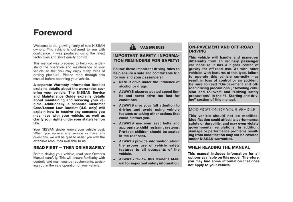 2009 Nissan Murano owners manual